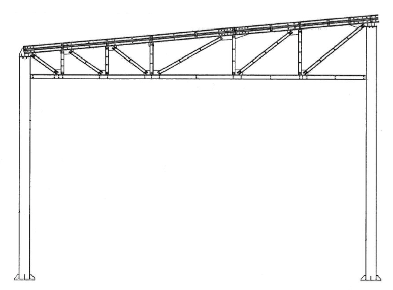 Ангар для вертолетов 54,22*24*6м с односкатной кровлей