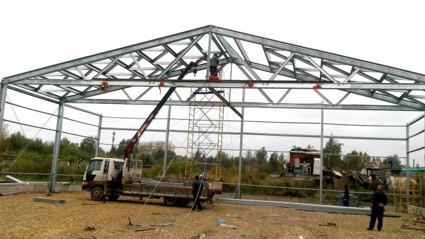 Монтаж каркаса металлоконструкций для склада в Балабаново Калужской области