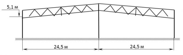 Складское здание 49,0x53,0x5,1(h)м с 2 пролетами